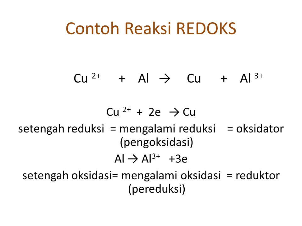 Contoh Reaksi REDOKS Cu 2+ + Al → Cu + Al 3+ Cu 2+ + 2e → Cu setengah reduksi = mengalami reduksi = oksidator (pengoksidasi) Al → Al 3+ +3e setengah oksidasi= mengalami oksidasi = reduktor (pereduksi)