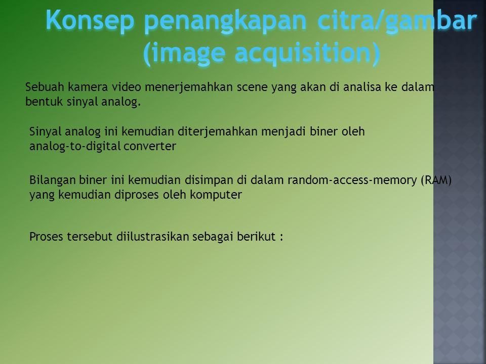 Bilangan biner ini kemudian disimpan di dalam random‐access‐memory (RAM) yang kemudian diproses oleh komputer Sebuah kamera video menerjemahkan scene