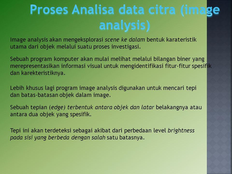 Lebih khusus lagi program image analysis digunakan untuk mencari tepi dan batas‐batasan objek dalam image. Image analysis akan mengeksplorasi scene ke