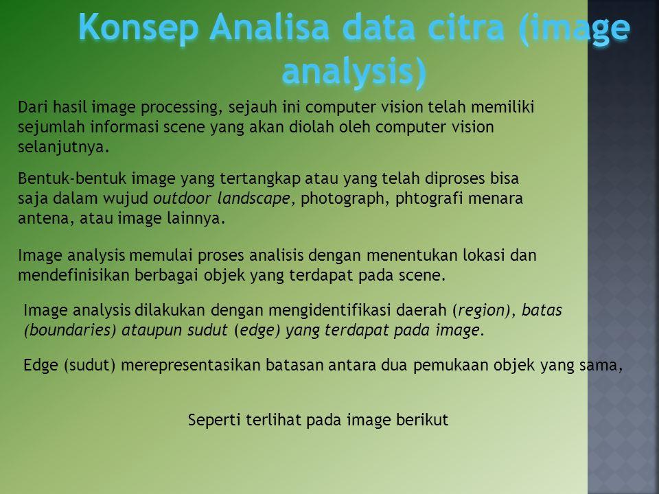 Image analysis memulai proses analisis dengan menentukan lokasi dan mendefinisikan berbagai objek yang terdapat pada scene. Dari hasil image processin