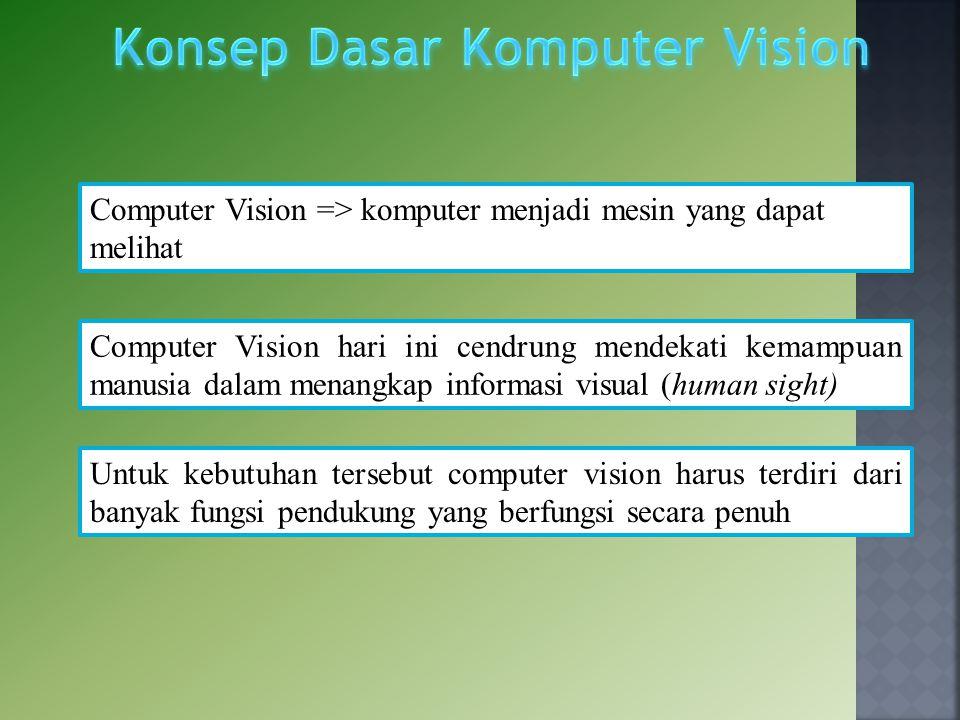 Computer Vision => komputer menjadi mesin yang dapat melihat Computer Vision hari ini cendrung mendekati kemampuan manusia dalam menangkap informasi v