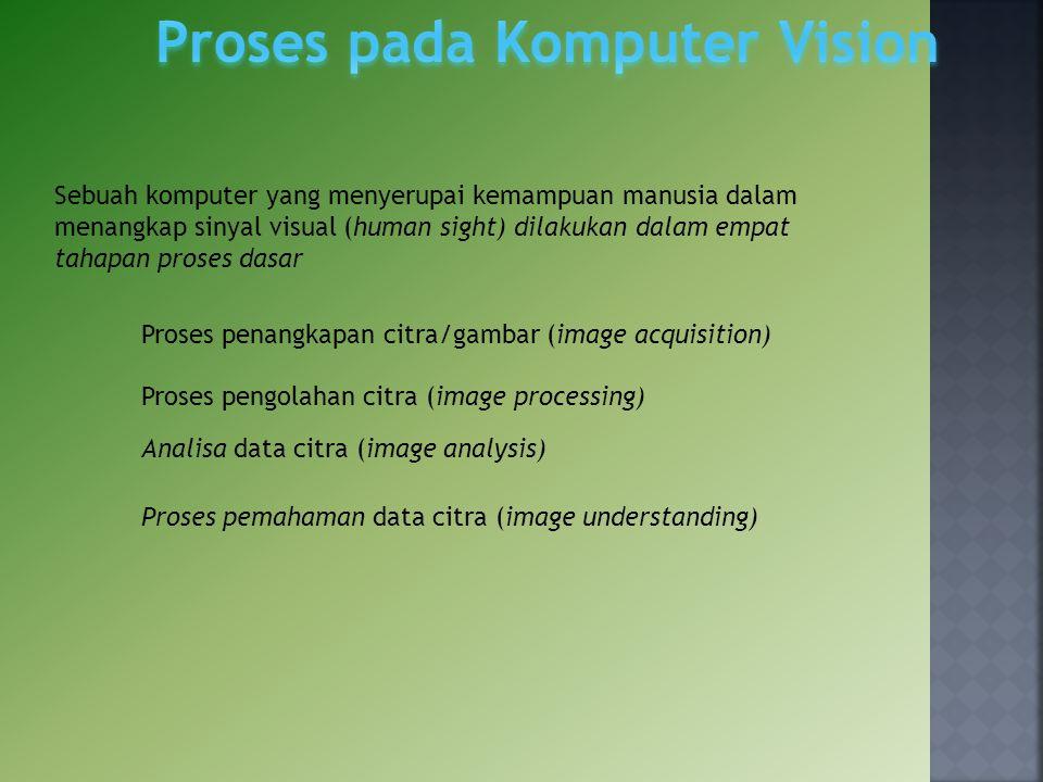 Sebuah komputer yang menyerupai kemampuan manusia dalam menangkap sinyal visual (human sight) dilakukan dalam empat tahapan proses dasar Proses penang