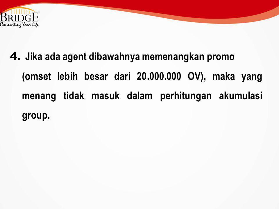 4. Jika ada agent dibawahnya memenangkan promo (omset lebih besar dari 20.000.000 OV), maka yang menang tidak masuk dalam perhitungan akumulasi group.