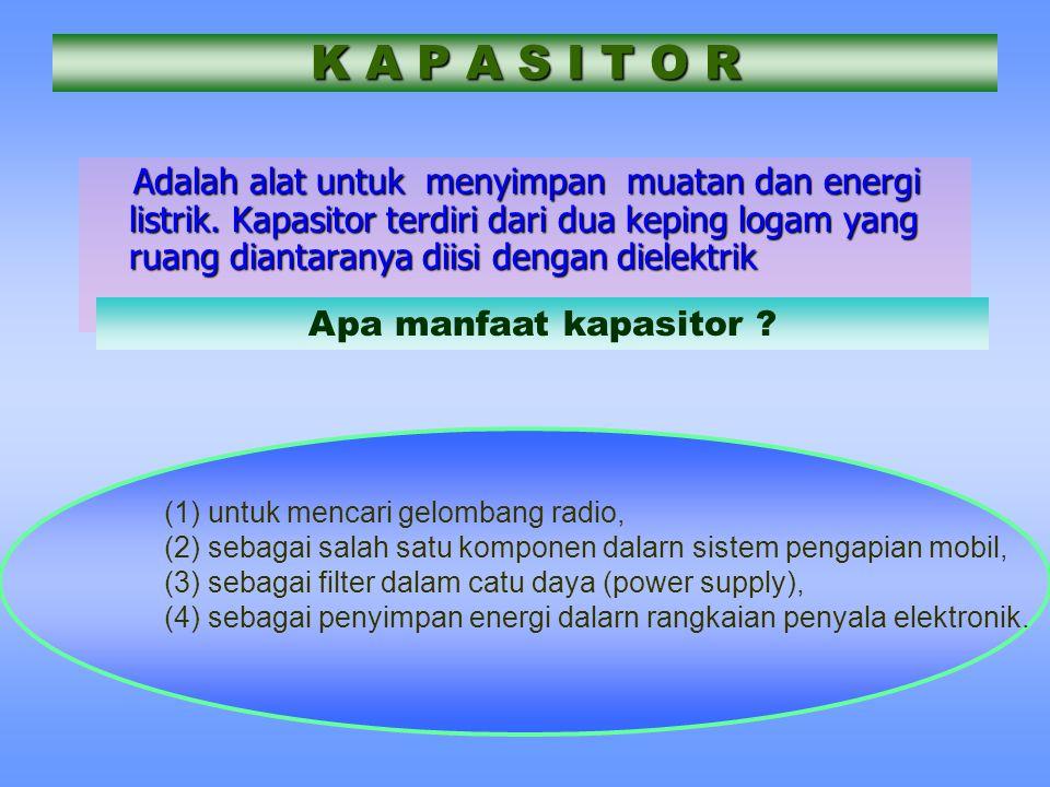 K A P A S I T O R Adalah alat untuk menyimpan muatan dan energi listrik. Kapasitor terdiri dari dua keping logam yang ruang diantaranya diisi dengan d