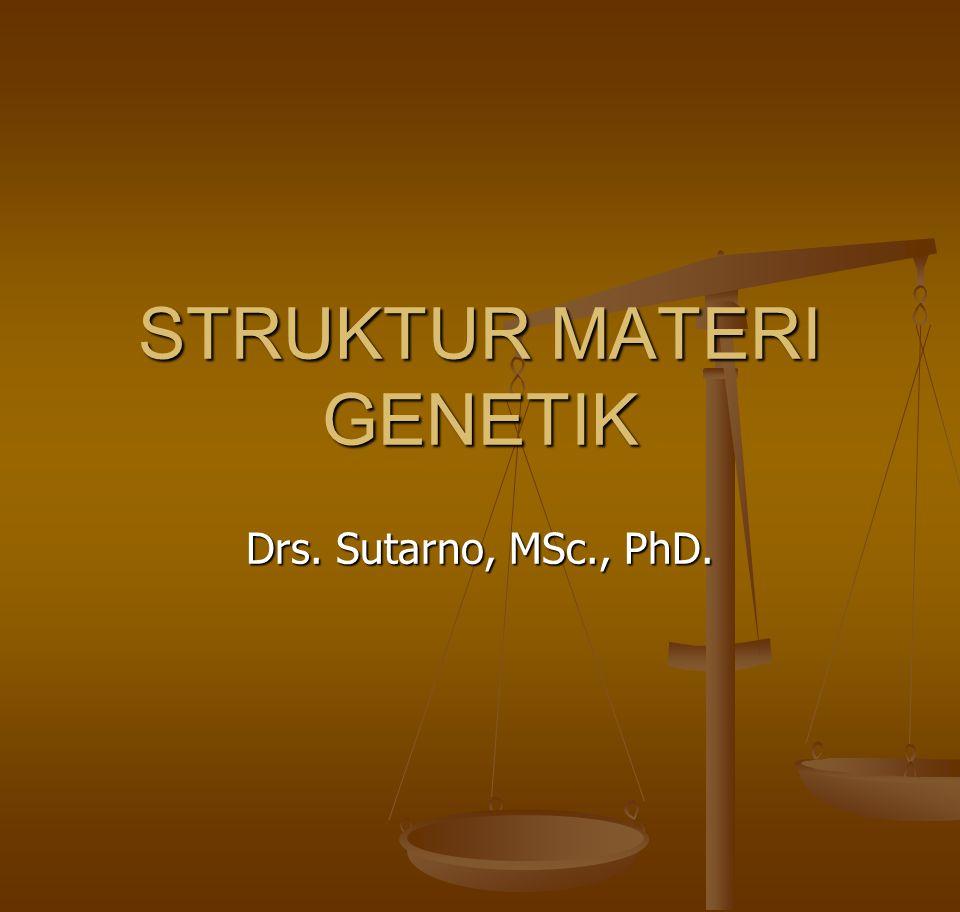 STRUKTUR MATERI GENETIK Drs. Sutarno, MSc., PhD.