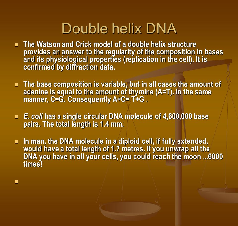 Double helix DNA The Watson and Crick model of a double helix structure provides an answer to the regularity of the composition in bases and its physiological properties (replication in the cell).