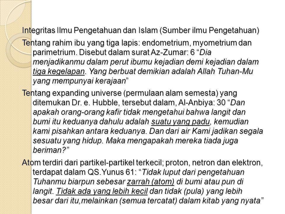 Integrasi Ilmu Pengetahuan Dalam Agama Islam Bacalah dengan nama Tuhan-Mu yang telah menciptakan.