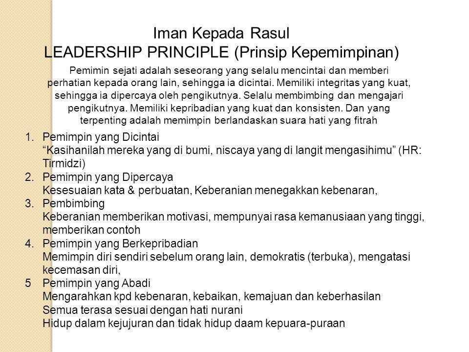 Kedudukan Nabi Muhammad saw; MUHAMMAD SAW HAMBA ALLAH SUNNAH RASUL ALLAH MANUSIA NASAB/ KETURUNAN FISIK MENYAMPAIKAN RISALAH MENUNAIKAN AMANAH MEMIMPIN UMAT Prinsip kepemimpinan (Leadership Principle) SIROH NABI DA'WAH NABI FIQIH SIROH FIQIH AHKAM FIQIH DA'WAH
