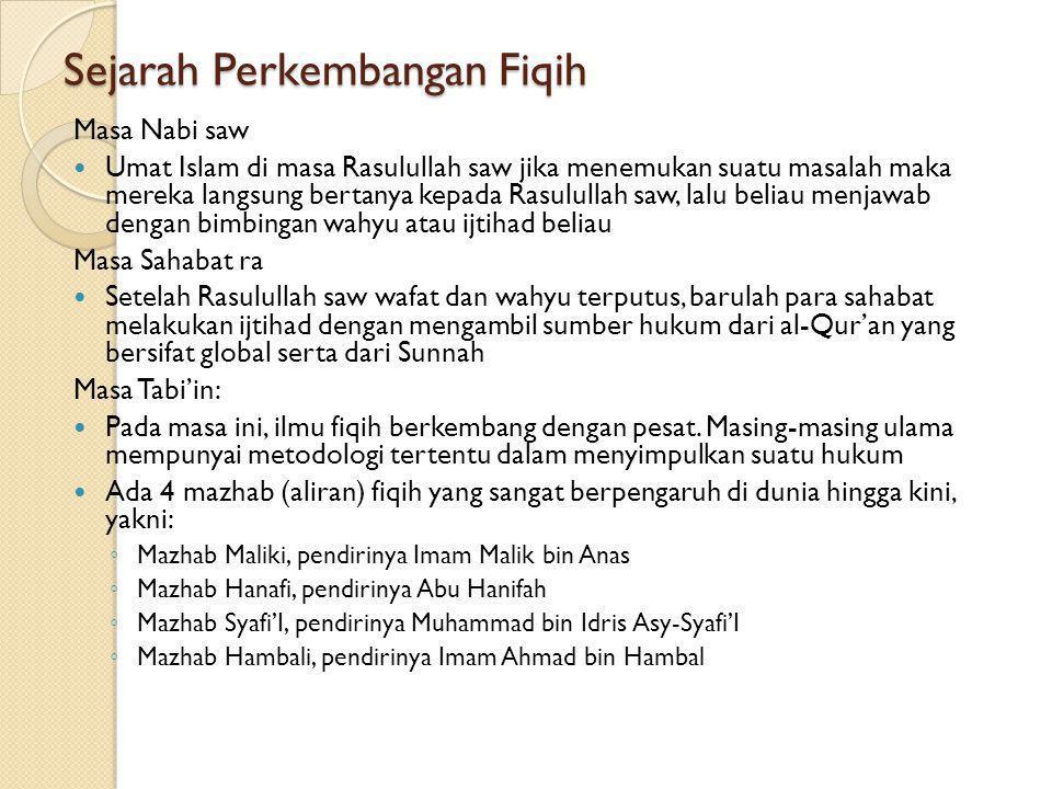 Bagian-bagian Isi Fiqih Pembahasan fiqih secara terperinci dapat diklasifikasikan kepada: 1.