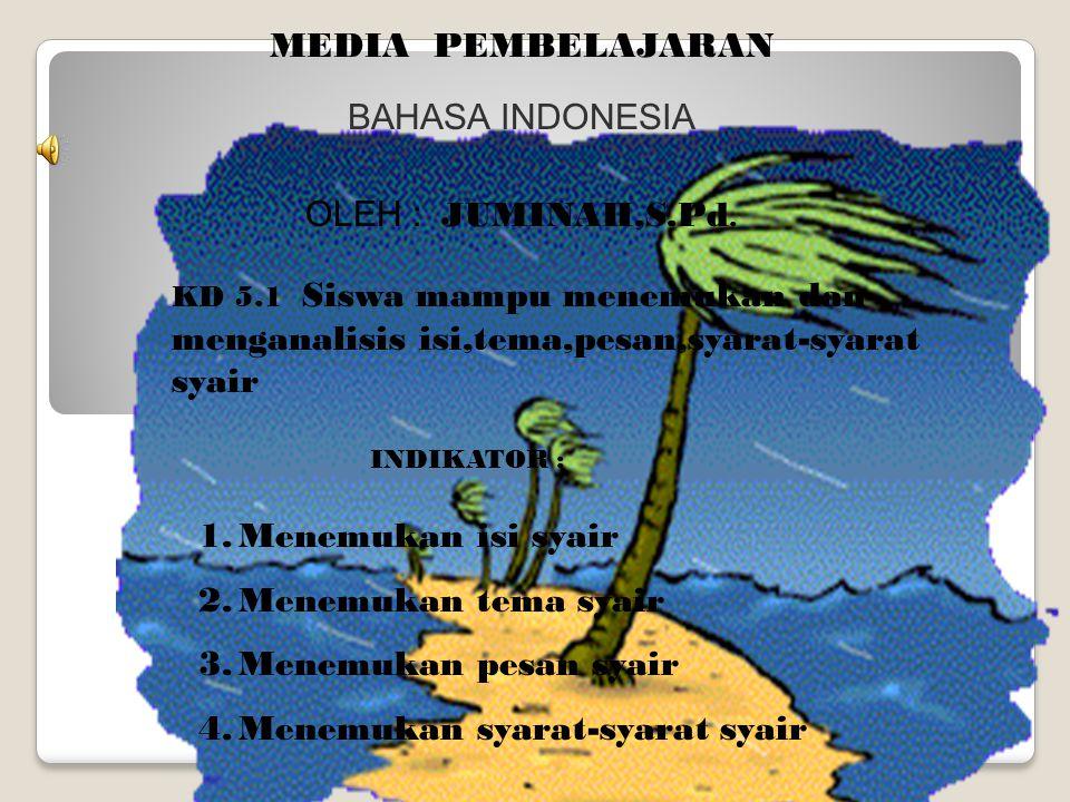 MEDIA PEMBELAJARAN BAHASA INDONESIA OLEH : JUMINAH,S.Pd. KD 5.1 Siswa mampu menemukan dan menganalisis isi,tema,pesan,syarat-syarat syair INDIKATOR :