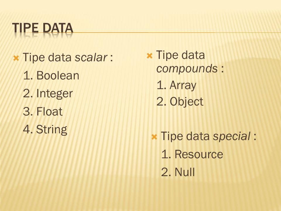  Tipe data scalar : 1. Boolean 2. Integer 3. Float 4.