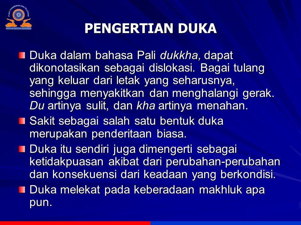 PENGERTIAN DUKA Duka dalam bahasa Pali dukkha, dapat dikonotasikan sebagai dislokasi. Bagai tulang yang keluar dari letak yang seharusnya, sehingga me