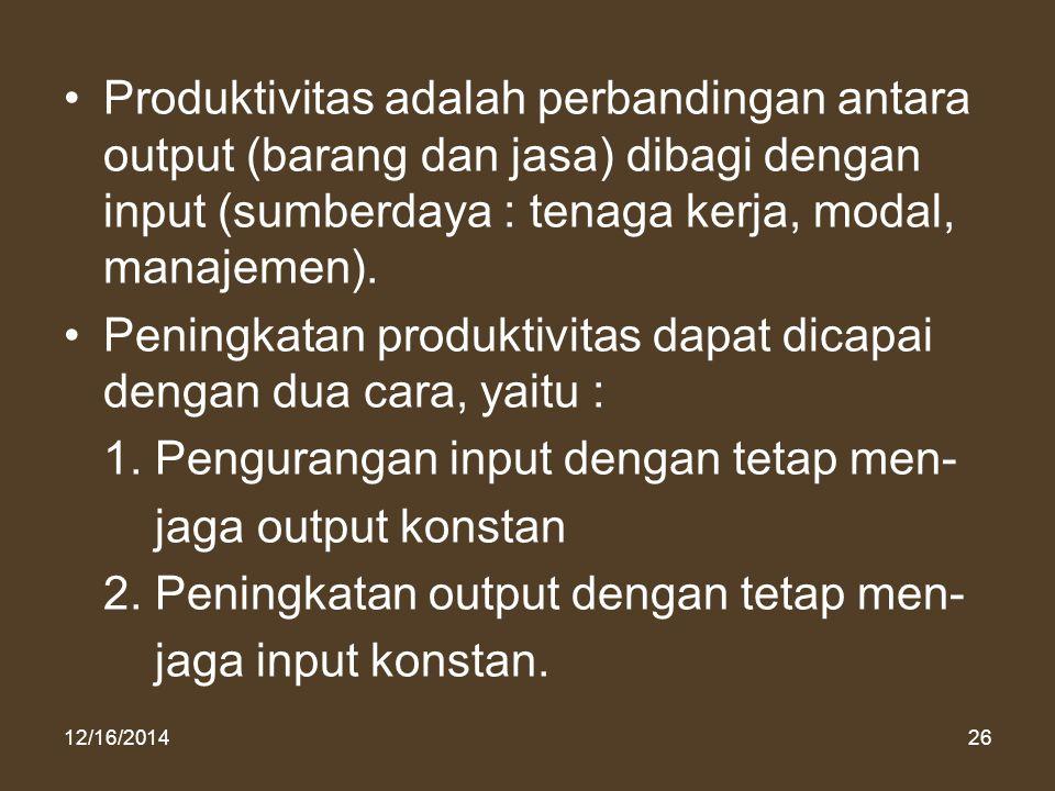 12/16/201426 Produktivitas adalah perbandingan antara output (barang dan jasa) dibagi dengan input (sumberdaya : tenaga kerja, modal, manajemen). Peni