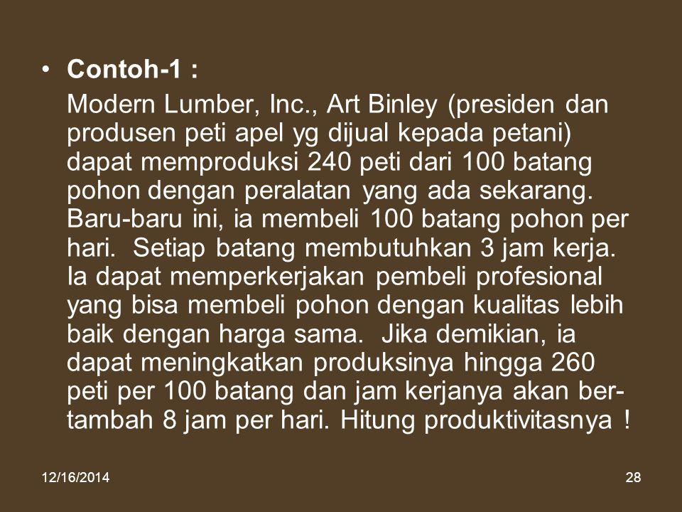 12/16/201428 Contoh-1 : Modern Lumber, Inc., Art Binley (presiden dan produsen peti apel yg dijual kepada petani) dapat memproduksi 240 peti dari 100
