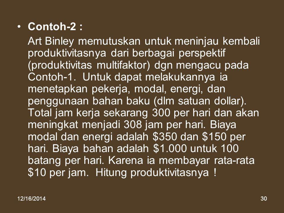 12/16/201430 Contoh-2 : Art Binley memutuskan untuk meninjau kembali produktivitasnya dari berbagai perspektif (produktivitas multifaktor) dgn mengacu