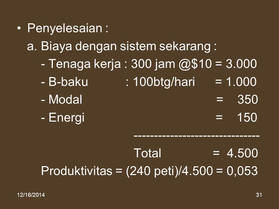 12/16/201431 Penyelesaian : a. Biaya dengan sistem sekarang : - Tenaga kerja : 300 jam @$10 = 3.000 - B-baku : 100btg/hari = 1.000 - Modal = 350 - Ene