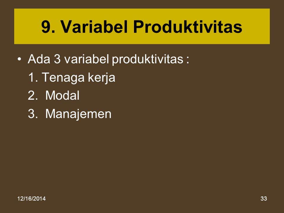 12/16/201433 9. Variabel Produktivitas Ada 3 variabel produktivitas : 1. Tenaga kerja 2. Modal 3. Manajemen