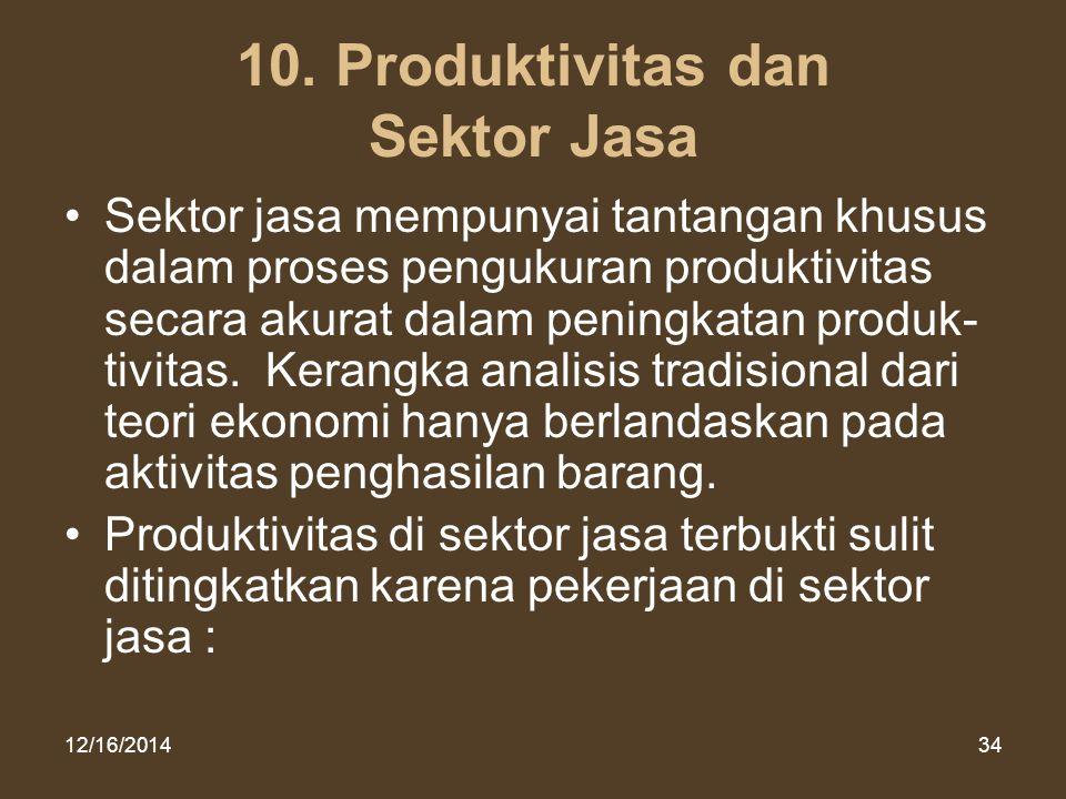 12/16/201434 10. Produktivitas dan Sektor Jasa Sektor jasa mempunyai tantangan khusus dalam proses pengukuran produktivitas secara akurat dalam pening