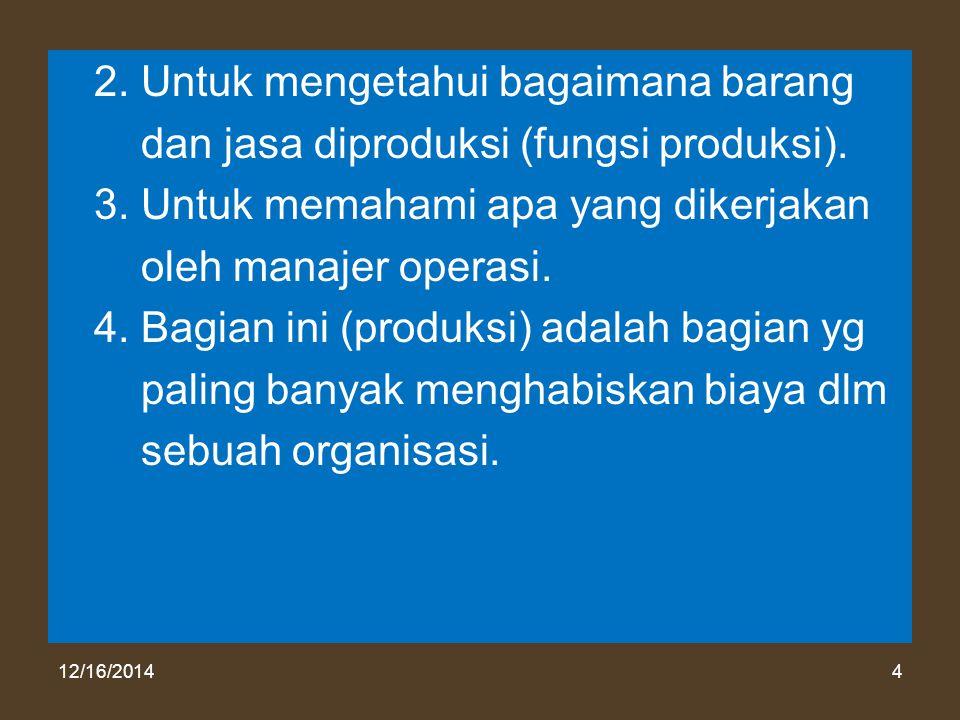 12/16/20144 2. Untuk mengetahui bagaimana barang dan jasa diproduksi (fungsi produksi). 3. Untuk memahami apa yang dikerjakan oleh manajer operasi. 4.