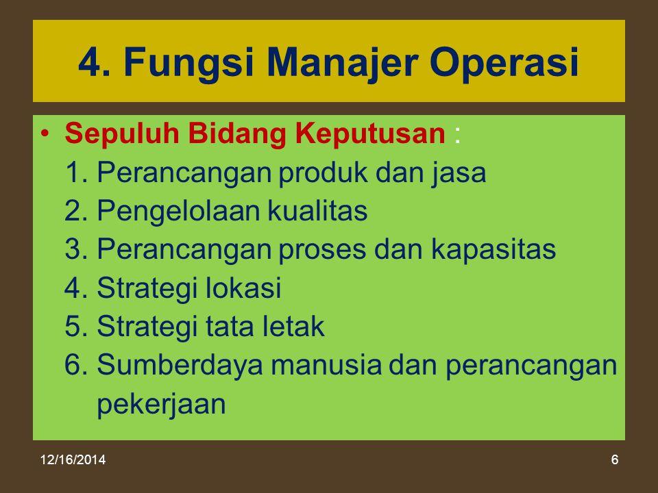 12/16/20146 4. Fungsi Manajer Operasi Sepuluh Bidang Keputusan : 1. Perancangan produk dan jasa 2. Pengelolaan kualitas 3. Perancangan proses dan kapa
