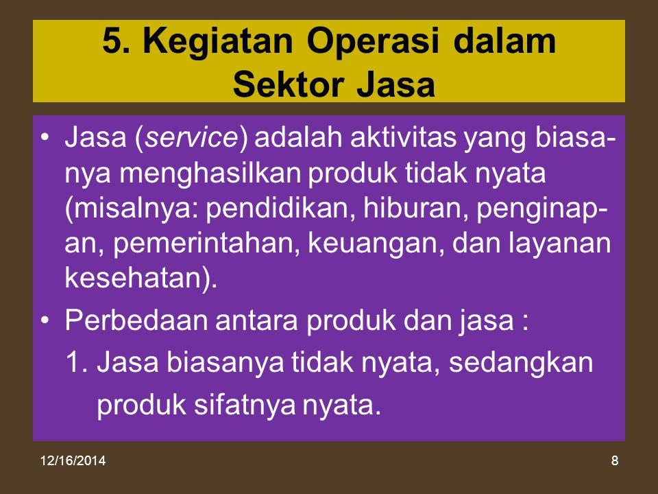 12/16/20148 5. Kegiatan Operasi dalam Sektor Jasa Jasa (service) adalah aktivitas yang biasa- nya menghasilkan produk tidak nyata (misalnya: pendidika