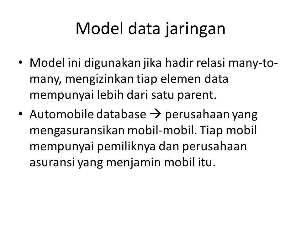 Model data jaringan Model ini digunakan jika hadir relasi many-to- many, mengizinkan tiap elemen data mempunyai lebih dari satu parent.