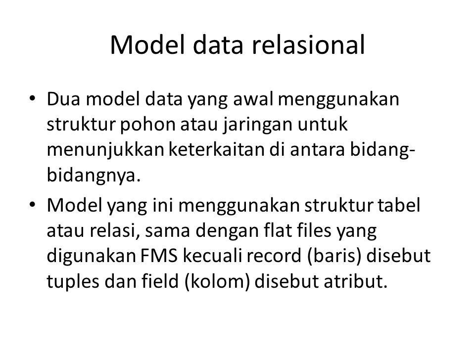 Model data relasional Dua model data yang awal menggunakan struktur pohon atau jaringan untuk menunjukkan keterkaitan di antara bidang- bidangnya.