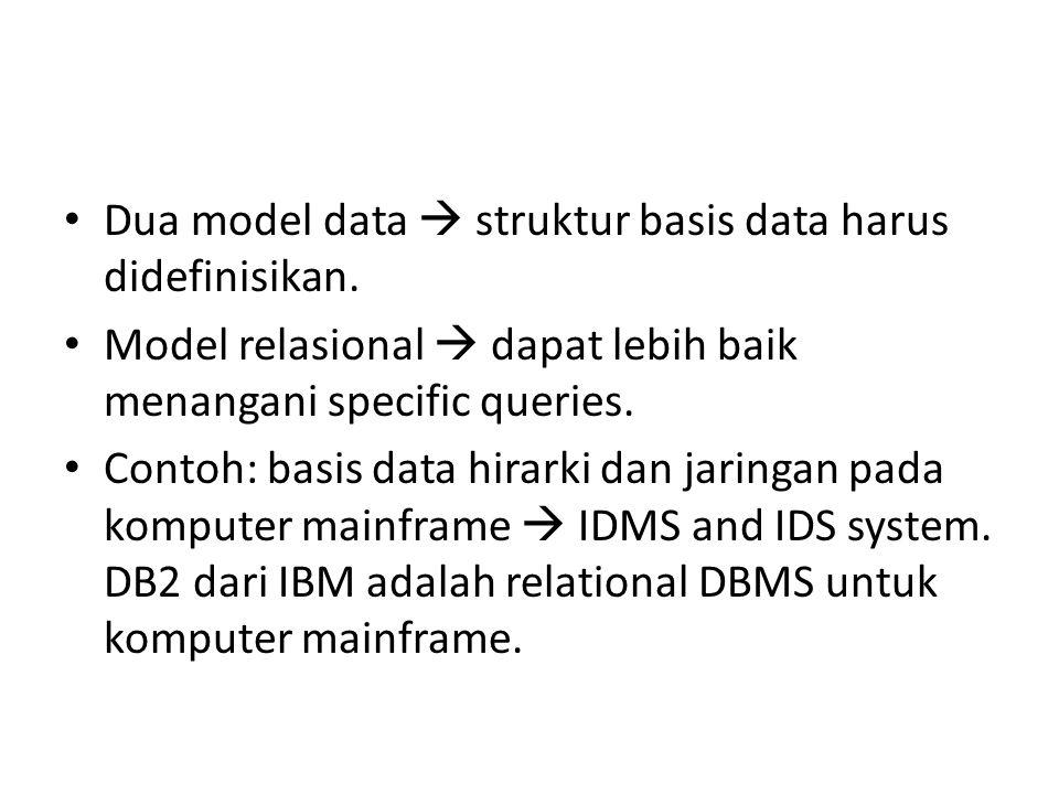 Dua model data  struktur basis data harus didefinisikan.