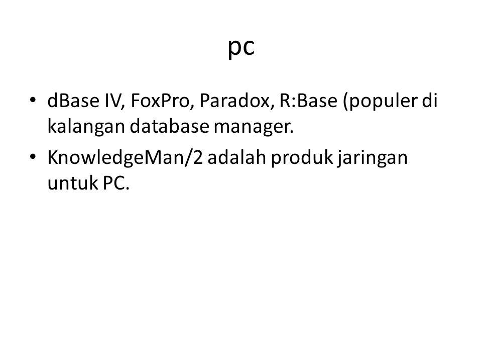 pc dBase IV, FoxPro, Paradox, R:Base (populer di kalangan database manager.