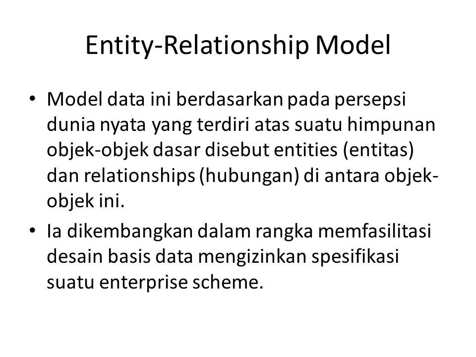 Entity-Relationship Model Model data ini berdasarkan pada persepsi dunia nyata yang terdiri atas suatu himpunan objek-objek dasar disebut entities (entitas) dan relationships (hubungan) di antara objek- objek ini.
