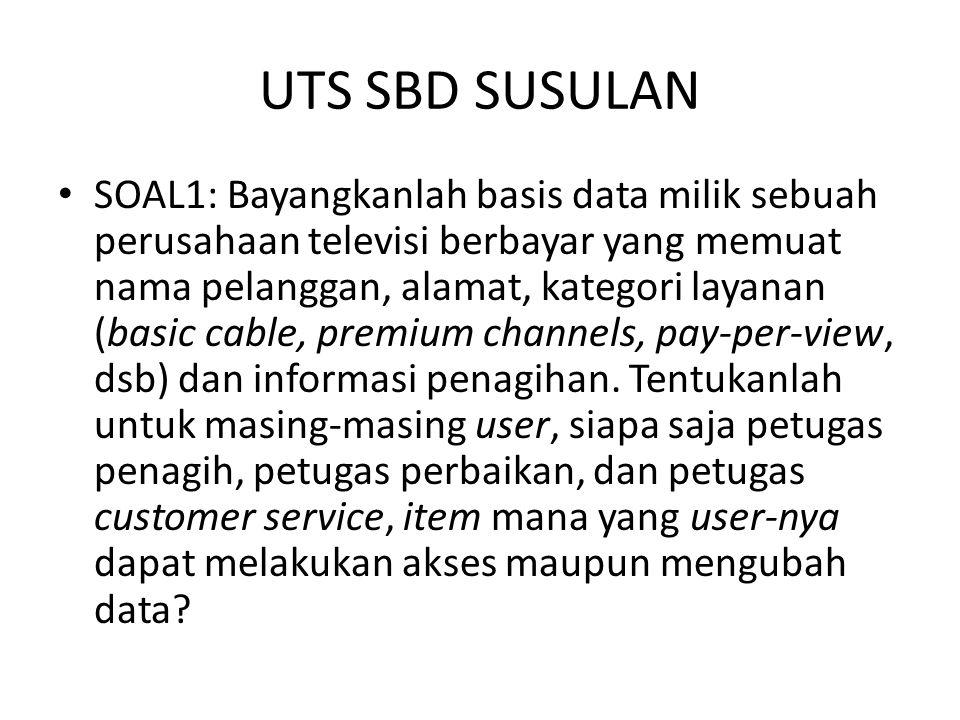 UTS SBD SUSULAN SOAL1: Bayangkanlah basis data milik sebuah perusahaan televisi berbayar yang memuat nama pelanggan, alamat, kategori layanan (basic cable, premium channels, pay-per-view, dsb) dan informasi penagihan.