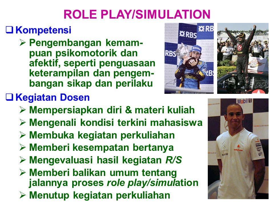  Kompetensi  Pengembangan kemam- puan psikomotorik dan afektif, seperti penguasaan keterampilan dan pengem- bangan sikap dan perilaku ROLE PLAY/SIMU