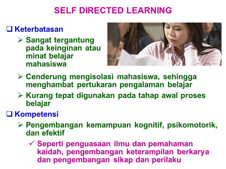  Keterbatasan  Sangat tergantung pada keinginan atau minat belajar mahasiswa SELF DIRECTED LEARNING  Cenderung mengisolasi mahasiswa, sehingga meng