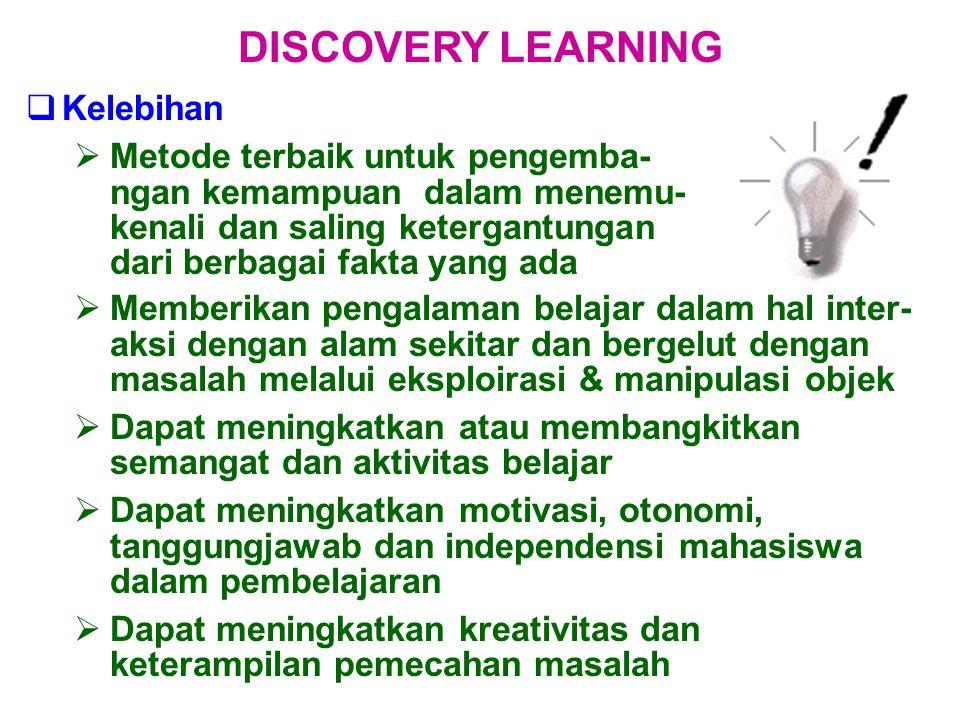  Kelebihan  Metode terbaik untuk pengemba- ngan kemampuan dalam menemu- kenali dan saling ketergantungan dari berbagai fakta yang ada DISCOVERY LEAR