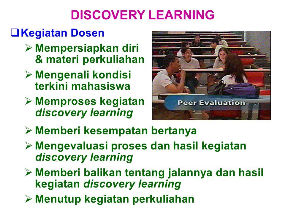  Kegiatan Dosen  Mempersiapkan diri & materi perkuliahan  Mengenali kondisi terkini mahasiswa  Memproses kegiatan discovery learning  Memberi kes