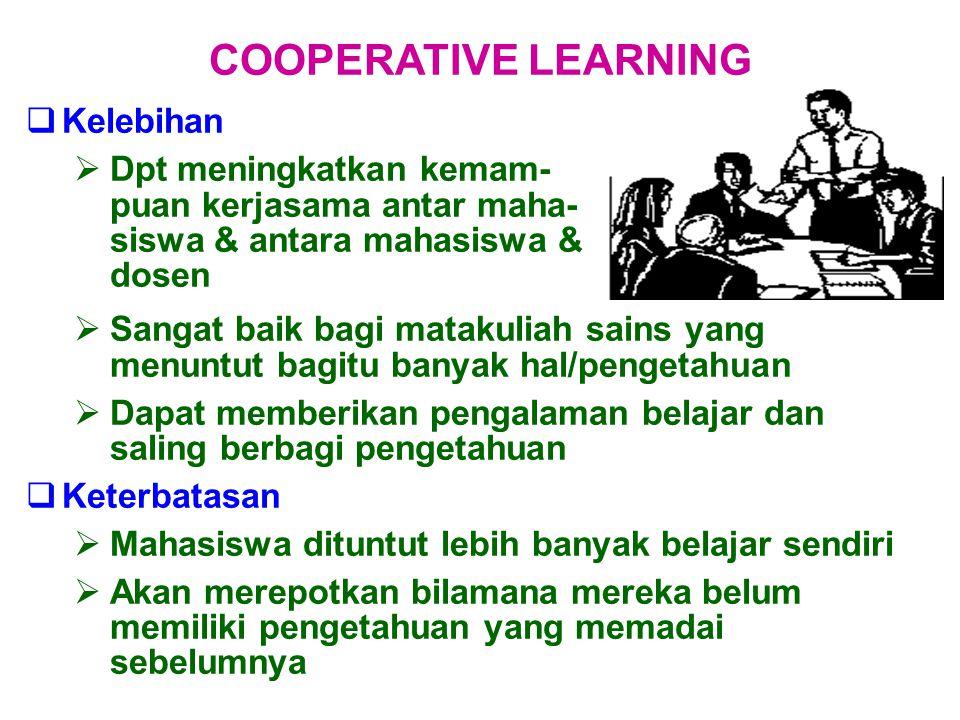  Kelebihan  Dpt meningkatkan kemam- puan kerjasama antar maha- siswa & antara mahasiswa & dosen COOPERATIVE LEARNING  Sangat baik bagi matakuliah s
