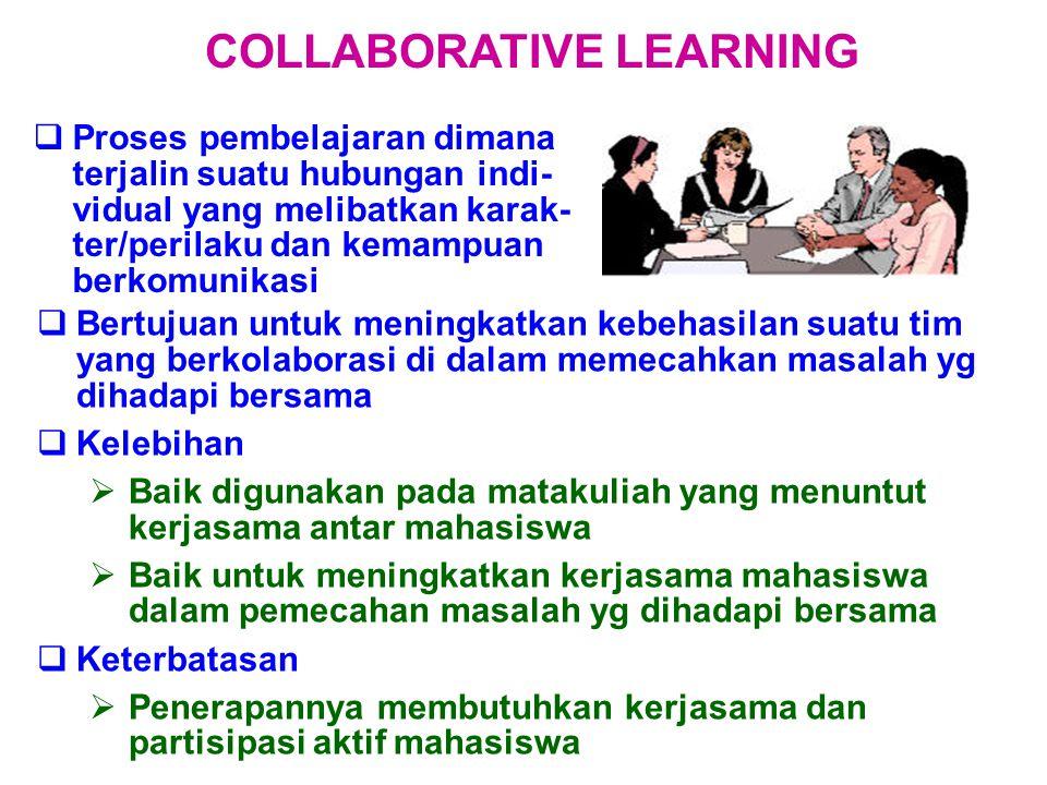  Proses pembelajaran dimana terjalin suatu hubungan indi- vidual yang melibatkan karak- ter/perilaku dan kemampuan berkomunikasi COLLABORATIVE LEARNING  Bertujuan untuk meningkatkan kebehasilan suatu tim yang berkolaborasi di dalam memecahkan masalah yg dihadapi bersama  Kelebihan  Baik digunakan pada matakuliah yang menuntut kerjasama antar mahasiswa  Baik untuk meningkatkan kerjasama mahasiswa dalam pemecahan masalah yg dihadapi bersama  Keterbatasan  Penerapannya membutuhkan kerjasama dan partisipasi aktif mahasiswa