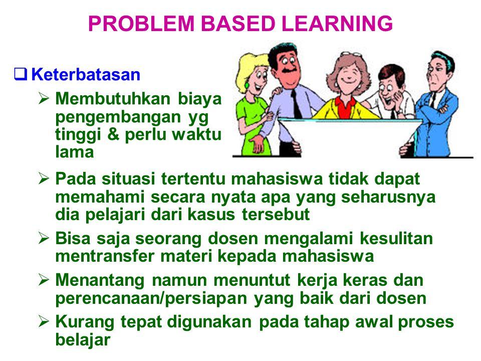  Keterbatasan  Membutuhkan biaya pengembangan yg tinggi & perlu waktu lama PROBLEM BASED LEARNING  Pada situasi tertentu mahasiswa tidak dapat mema