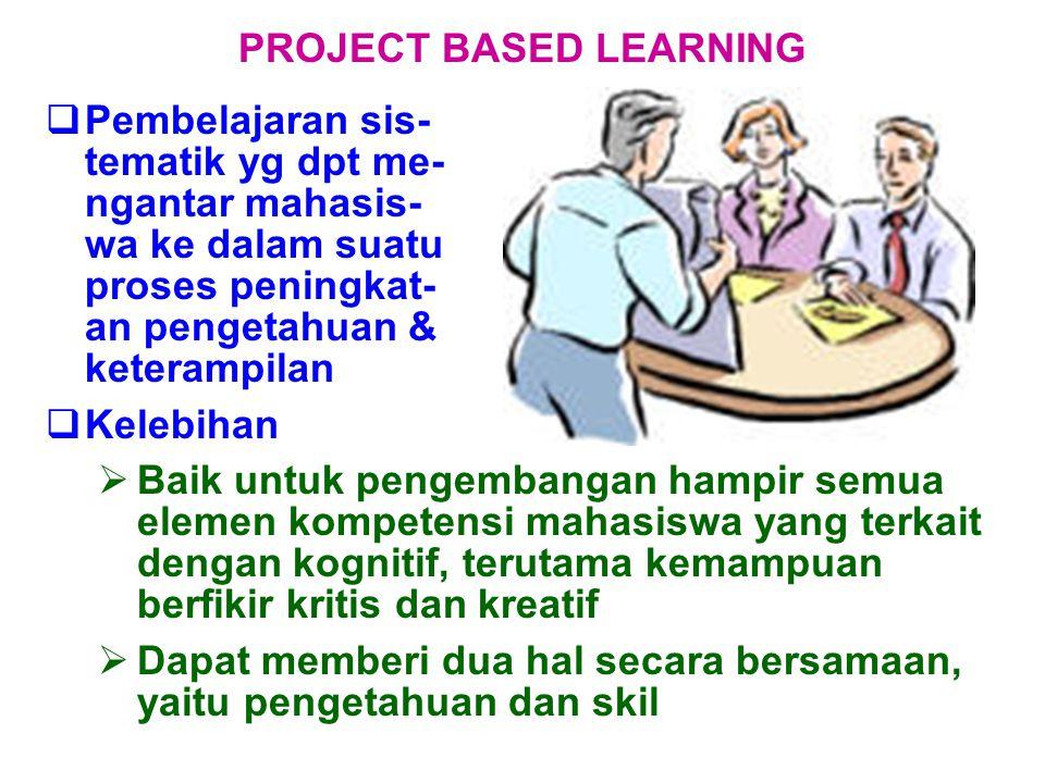  Pembelajaran sis- tematik yg dpt me- ngantar mahasis- wa ke dalam suatu proses peningkat- an pengetahuan & keterampilan PROJECT BASED LEARNING  Kel