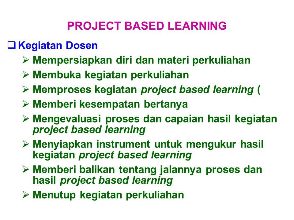  Kegiatan Dosen  Mempersiapkan diri dan materi perkuliahan  Membuka kegiatan perkuliahan  Memproses kegiatan project based learning (  Memberi ke