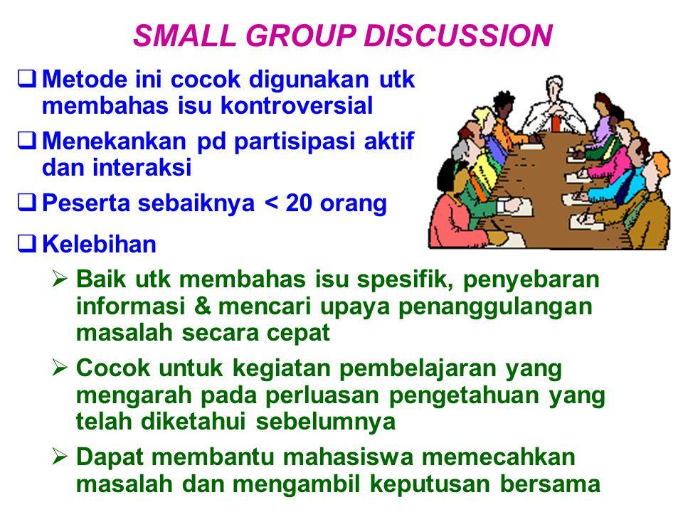  Metode ini cocok digunakan utk membahas isu kontroversial  Menekankan pd partisipasi aktif dan interaksi  Peserta sebaiknya < 20 orang SMALL GROUP