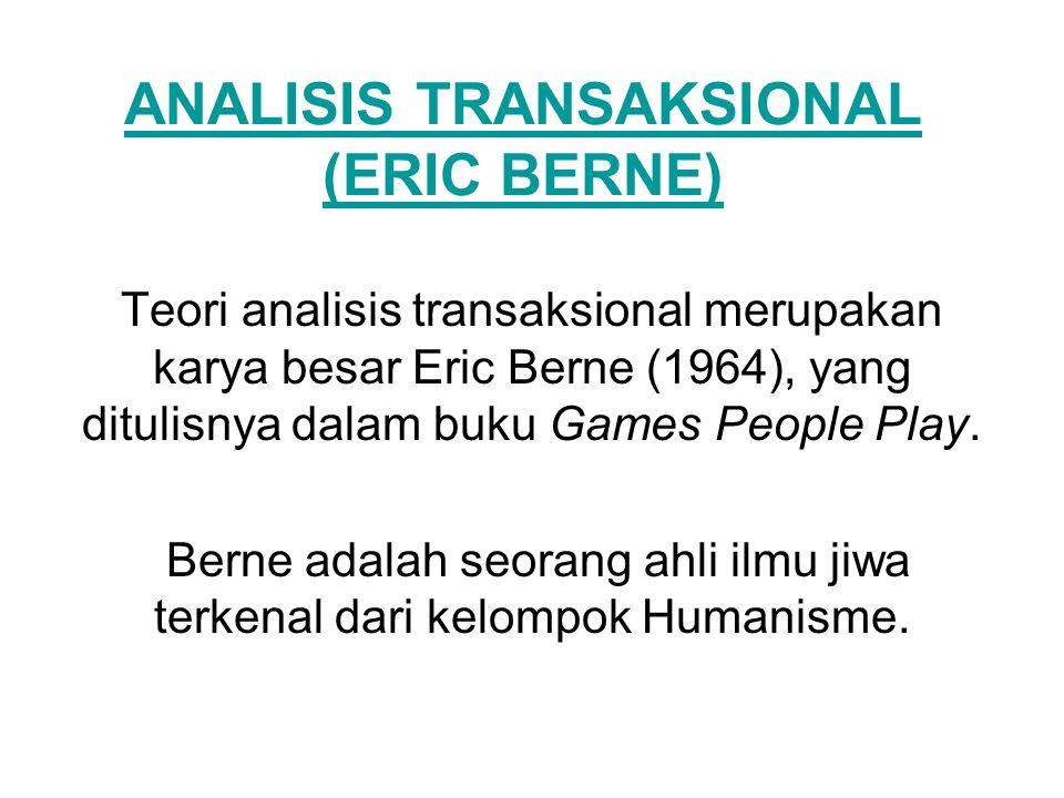 ANALISIS TRANSAKSIONAL (ERIC BERNE) Teori analisis transaksional merupakan karya besar Eric Berne (1964), yang ditulisnya dalam buku Games People Play
