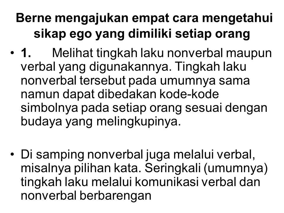 Berne mengajukan empat cara mengetahui sikap ego yang dimiliki setiap orang 1. Melihat tingkah laku nonverbal maupun verbal yang digunakannya. Tingkah