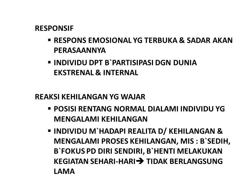 RESPONSIF  RESPONS EMOSIONAL YG TERBUKA & SADAR AKAN PERASAANNYA  INDIVIDU DPT B`PARTISIPASI DGN DUNIA EKSTRENAL & INTERNAL REAKSI KEHILANGAN YG WAJAR  POSISI RENTANG NORMAL DIALAMI INDIVIDU YG MENGALAMI KEHILANGAN  INDIVIDU M`HADAPI REALITA D/ KEHILANGAN & MENGALAMI PROSES KEHILANGAN, MIS : B`SEDIH, B`FOKUS PD DIRI SENDIRI, B`HENTI MELAKUKAN KEGIATAN SEHARI-HARI  TIDAK BERLANGSUNG LAMA
