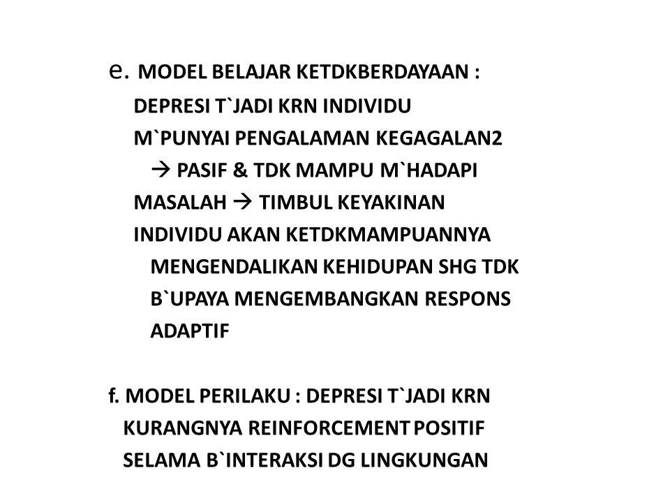 e. MODEL BELAJAR KETDKBERDAYAAN : DEPRESI T`JADI KRN INDIVIDU M`PUNYAI PENGALAMAN KEGAGALAN2  PASIF & TDK MAMPU M`HADAPI MASALAH  TIMBUL KEYAKINAN I