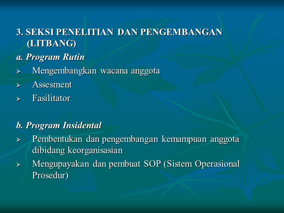 2. SEKSI PENERBITAN DAN PENERANGAN (BITPEN) a. Program Rutin  Mengelola dan mengembangkan sarana informasi  Sosialisasi dan publikasi kegiatan KSR b