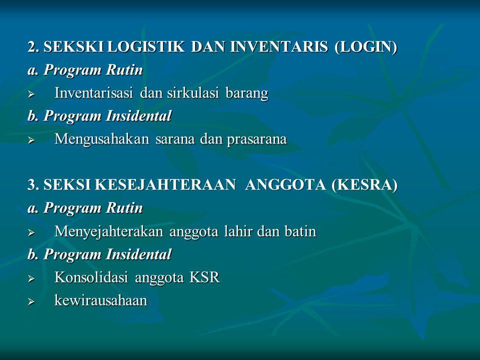 BIDANG II 4.SEKSI OPERASIONAL DAN PENGADIAN MASYARAKAT (OPDIMAS ) a. Program Rutin  Operasionalisasi nilai-nilai kemanusiaan b. Program Insidental 