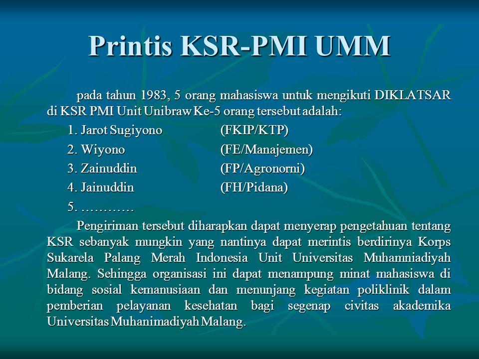 Printis KSR-PMI UMM pada tahun 1983, 5 orang mahasiswa untuk mengikuti DIKLATSAR di KSR PMI Unit Unibraw Ke-5 orang tersebut adalah: 1.