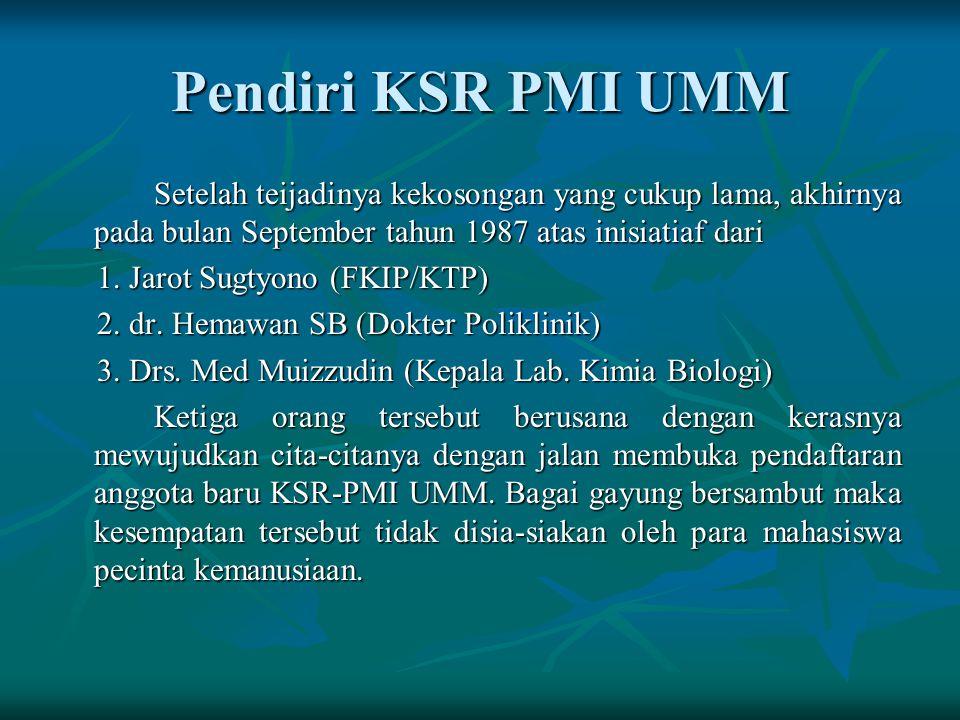 Printis KSR-PMI UMM pada tahun 1983, 5 orang mahasiswa untuk mengikuti DIKLATSAR di KSR PMI Unit Unibraw Ke-5 orang tersebut adalah: 1. Jarot Sugiyono
