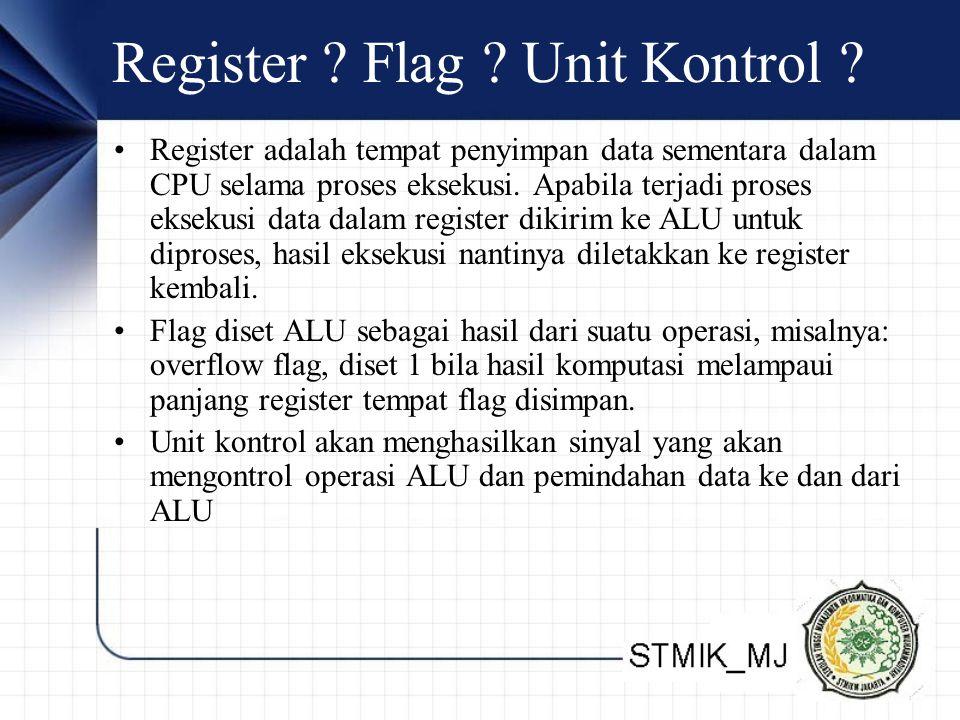 Register ? Flag ? Unit Kontrol ? Register adalah tempat penyimpan data sementara dalam CPU selama proses eksekusi. Apabila terjadi proses eksekusi dat